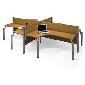 "Bestar&#174 Four L-shaped Workstation - 43""H - Cappuccino Cherry - Pro-Biz Series"