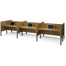 "Bestar® Six Straight Desk Workstation - 43""H - Cappuccino Cherry - Pro-Biz Series"