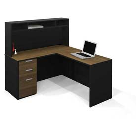 "Bestar® L Workstation w/ Small Hutch - 60"" - Milk Chocolate Bamboo & Black - Pro-Concept Series"