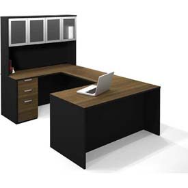 Bestar® Pro-Concept U-Workstation with High Hutch in Milk Chocolate Bamboo & Black