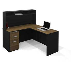 Bestar® Pro-Concept L-Workstation with Small Hutch & Pedestal in Milk Chocolate Bamboo & Black