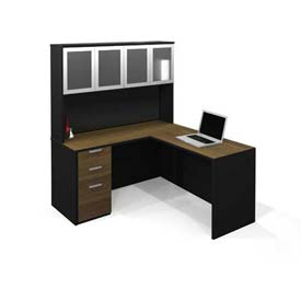 Bestar® Pro-Concept L-Workstation with High Hutch & Pedestal in Milk Chocolate Bamboo & Black