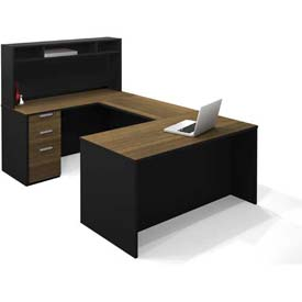 Bestar® Pro-Concept U-Workstation with Small Hutch & Pedestal in Milk Chocolate Bamboo & Black