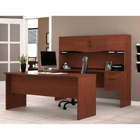 Bestar® U Shaped Workstation - Bordeaux - Harmony Series