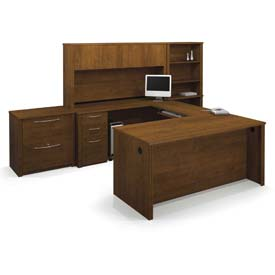 Bestar® U Shaped Desk Kit w/ Hutch, Lateral File & Bookcase - Tuscany Brown - Embassy Series