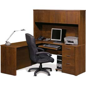 """Bestar® L Desk with Hutch - 66"""" - Tuscany Brown - Embassy Series"""