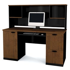 Bestar Credenza and Hutch Tuscany Brown & Black Hampton Series by