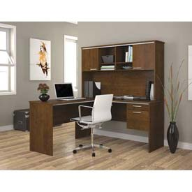 "Bestar® L Workstation - 60"" - Tuscany Brown - Flare Series"
