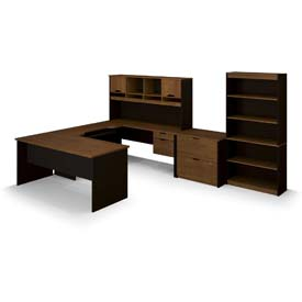 "Bestar® U Shape Desk Kit with Hutch, File & Bookcase - 60"" - Brown & Black - Innova Series"