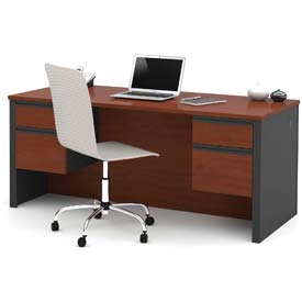 "Bestar® Wood Desk - Double Pedestal - 71"" - Bordeaux & Graphite - Prestige+"