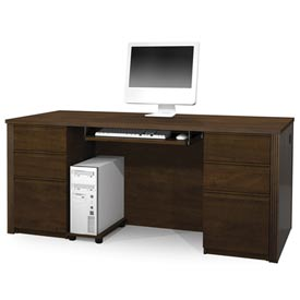 "Bestar® Wood Desk - Double Pedestal - 71"" - Chocolate - Prestige+"