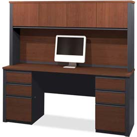 "Bestar Credenza and Hutch Kit 71"" Bordeaux & Graphite Prestige+ by"