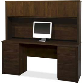 "Bestar Credenza and Hutch Kit 71"" Chocolate Prestige+ by"
