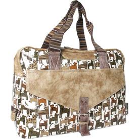 Joanel Woman's Briefcase, Caty Mini Collection, 48 Hour Bag W/Inside Media Organizer, Beige by