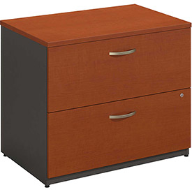 Bush Furniture Lateral File Cabinet, 2 Drawer with Single Handle Pulls - Auburn Maple - Series C