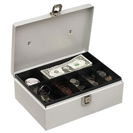 """Buddy Products  Metal Cash Box 0513-32 With Handle 7 Compartments 11""""W x 7-3/4""""D x 4""""H, Platinum - Pkg Qty 6"""