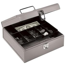 "Buddy Products Jumbo Cash Box  0518-1 7 Compartments 10""W x 8-1/2""D x 2""H, Gray - Pkg Qty 6"