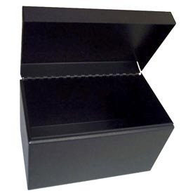 """Card File With Hinged Cover For 5"""" X 8"""" Index Cards - Black - Pkg Qty 6"""