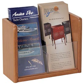 Single Pocket Literature Brochure Holder - Medium Oak