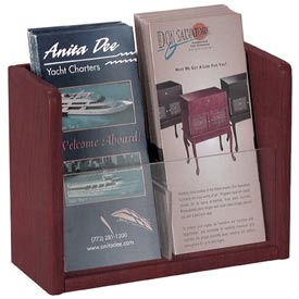 Single Pocket Literature Brochure Holder - Mahogany
