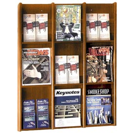 9 Pocket Literature or 18 Pocket Brochure Rack - Medium Oak