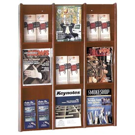 9 Pocket Literature or 18 Pocket Brochure Rack - Medium Cherry