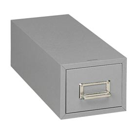 """Single Drawer Card Fie for 3"""" X 5"""" Index Cards - Gray"""