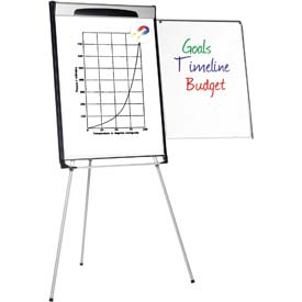 "MasterVision Magnetic Dry Erase Tripod Presentation Easel, 27""W x 40""H Board"