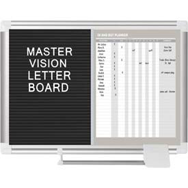 "MasterVision In-Out Magnetic Dry Erase/Letter Board, Steel/Vinyl Surface, 24""W x 18""H"