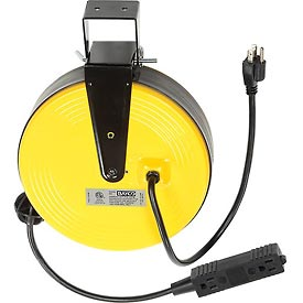 Bayco® Triple Tap Extension Cord SL-800, Retractable Reel, 30'L Cord, 16/3 GA, Yellow