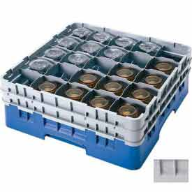 "Cambro 25S738151 - Camrack  Glass Rack Low Profile 25 Compartments 7-3/4"" Max. Ht. Gray NSF - Pkg Qty 3"