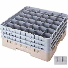 "Cambro 36S800151 - Camrack  Glass Rack 36 Compartments 8-1/2"" Max. Height Soft Gray NSF - Pkg Qty 2"