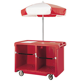 "Cambro CVC55158 - Camcruiser Vending Cart, 55-3/16""L x  31-1/4""W x 93-1/2""H, Hot Red"