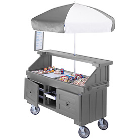 "Cambro CVC724191 - Camcruiser Vending Cart, 4 full size pans, 6"" deep, Granite Gray"