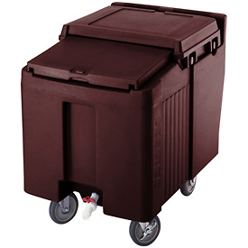 Cambro ICS175L131 - Ice Caddy, Dark Brown, 175 Lbs. Cap., Short, 2 Fixed, 2 Swivel, 1 with Brake