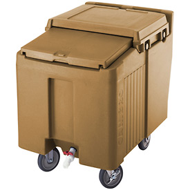 Cambro ICS175L157 - Ice Caddy, Beige, 175 Lbs. Cap., Short, 2 Fixed, 2 Swivel, 1 with Brake