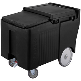 "Cambro ICS175LB110 - Ice Caddy, Black, 125lbs. Cap, Short, 2 Swivel, 1 w/Brake, 2, 10"" Easy Wheels"