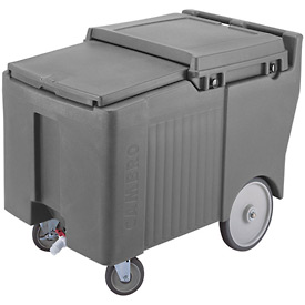 "Cambro ICS175LB191 - Ice Caddy, Gray, 125 Lbs. Cap, Short, 2 Swivel, 1 w/Brake, 2, 10"" Easy Wheels"