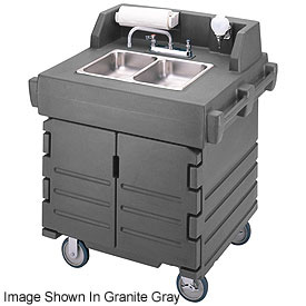 Cambro KSC402426 Camkiosk Hand Sink Cart, Black with Granite Green Top & Doors by