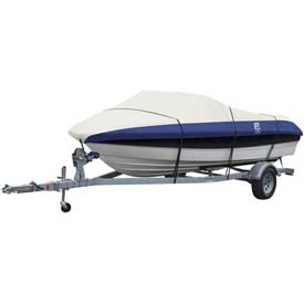 """Classic Accessories Lunex RS-2 Boat Cover 12' - 14', 68"""" Beam Linen/Navy - 20-131-084601-00"""