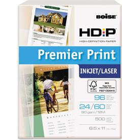 "Boise HD:P Premier Print Copy Paper PP9624, 8-1/2"" x 11"", White, 500 Sheets/Ream by"