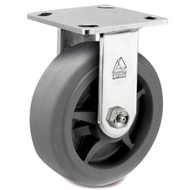 "Bassick Prism Stainless Steel Rigid Caster Thermal Plastic Rubber Flat Tread 8"" Dia. by"