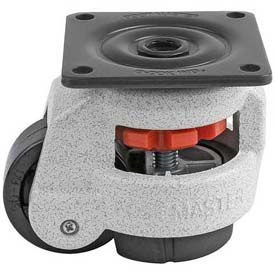 Foot Master® Swivel Plate Manual Leveling Caster GD-60F - 550 Lb. Cap. - 63mm Dia. Nylon Wheel