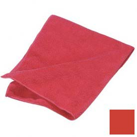 "Terry Microfiber Cleaning Cloth 16"" X 16"" - Red - 3633405 - Pkg Qty 12"