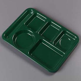 Carlisle 4398008 - Left-Hand Heavy Weight 6-Compartment Tray, Forest Green - Pkg Qty 12