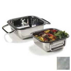 "Click here to buy Carlisle 609082 Square Display Dish, 6-5/16"", Stainless Steel."