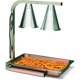 Carlisle HL7237PS00 Two Bulb Free Standing Adjustable Heat Lamp W/ Pan & Screen, Aluminum by