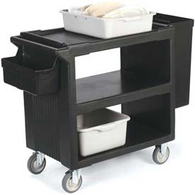 """Carlisle SBC23003 Service Cart with 2 Fixed Casters, 2 Swivel Casters, 1 W/ Brake 33"""" x 20"""", Black by"""