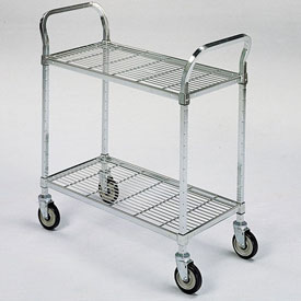 "Square-Post Wire Utility Carts with Rubber Casters 36"" Wx18"" D Shelf 2 Shelves by"