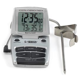 CDN DTTC-S Combo Probe Thermometer, Timer & Clock Silver by